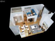 智富城1室2厅1卫75平方米户型图
