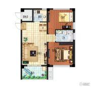 天目湖温泉公馆2室2厅1卫76平方米户型图