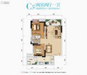 中亿阳明山水2室2厅1卫65平方米户型图