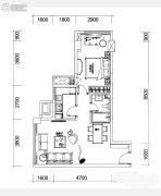 巴登巴登国际温泉养生公寓1室2厅1卫53平方米户型图