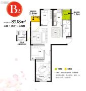 香缇熙岸3室2厅1卫89平方米户型图
