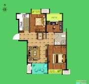 荣盛花语城3室2厅1卫88平方米户型图