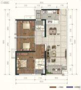 广佛颐景园3室2厅2卫90平方米户型图