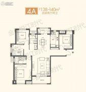 金地悦江时代4室2厅2卫138--140平方米户型图