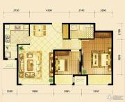 鸿坤・曦望山2室2厅1卫87平方米户型图