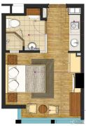 九洲新世界1室0厅1卫37平方米户型图