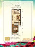 中泽纯境1室1厅1卫59平方米户型图