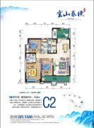 湘核・云山春晓3室2厅2卫116平方米户型图