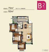 蓝光COCO蜜园3室2厅1卫75平方米户型图