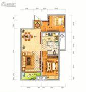 中泰美域2室2厅2卫88平方米户型图