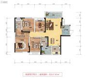 鑫远御文台二期4室2厅2卫137平方米户型图