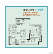 鲁能星城1室1厅1卫43平方米户型图