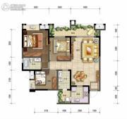 棠湖泊林城2室2厅2卫95平方米户型图