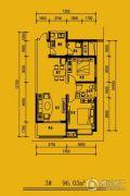 文锦新城2室2厅1卫96平方米户型图