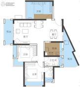 恒地悦山湖3室2厅2卫89平方米户型图