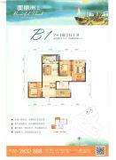 美丽洲2室2厅1卫79--90平方米户型图