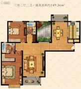 鹏欣水游城3室2厅2卫149平方米户型图