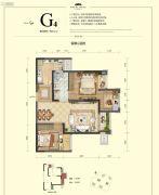 国博城2室2厅1卫60平方米户型图