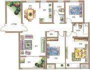 锦江城市花园3室2厅2卫141平方米户型图