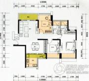 云顶澜山3室2厅2卫90平方米户型图