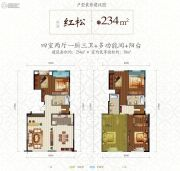 实力玖如堂4室2厅3卫234平方米户型图