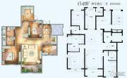 法兰谷4室2厅3卫134平方米户型图