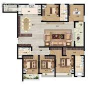 东润泰和4室3厅2卫205平方米户型图