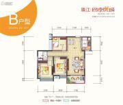 珠江・四季悦城3室2厅1卫90平方米户型图