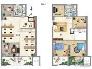 大宏城市广场4室1厅2卫80平方米户型图