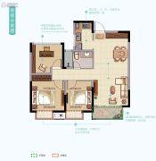 华丽家族太湖汇景2室2厅1卫92平方米户型图
