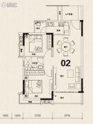 科城山庄2室2厅1卫82平方米户型图