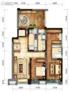 戛纳湾金棕榈3室2厅1卫95平方米户型图