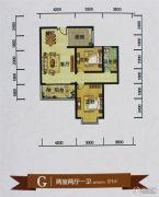 鑫源尚城2室2厅1卫91平方米户型图