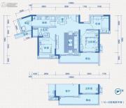 中惠国际金融中心3室2厅1卫96平方米户型图