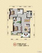 金泰・新理城3室2厅1卫90平方米户型图