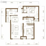 保利・领秀山2室2厅1卫89平方米户型图