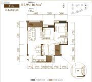 香江华府3室2厅2卫112平方米户型图