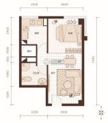 燕赵锦河湾1室1厅1卫49平方米户型图