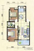 经晨时代2室2厅1卫90平方米户型图