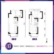 乔布斯公馆2期2室2厅2卫44平方米户型图