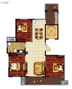 鸿泰・花漾城3室2厅1卫128平方米户型图