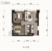融创星河和平印2室2厅1卫93平方米户型图