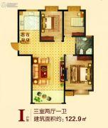 港利・锦绣江南3室2厅1卫122平方米户型图