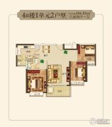 恒大帝景3室2厅1卫104平方米户型图