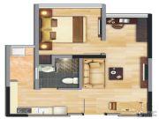 中央财津1室2厅1卫0平方米户型图