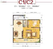 东方装饰城3室2厅1卫109--120平方米户型图