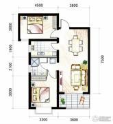 山海城邦・马街摩尔城2室2厅1卫94平方米户型图