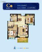 太奥广场住宅2室2厅1卫81--87平方米户型图