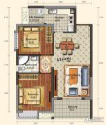 城中半岛2室2厅1卫78平方米户型图