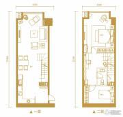 金鹰天地广场1室1厅1卫66平方米户型图